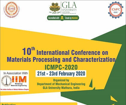 "10th International Conference on ""Materials Processing and Characterization (ICMPC)"