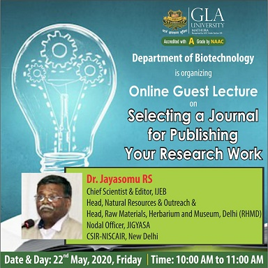 Online Guest Lecture BY Dr. Jayasomu RS